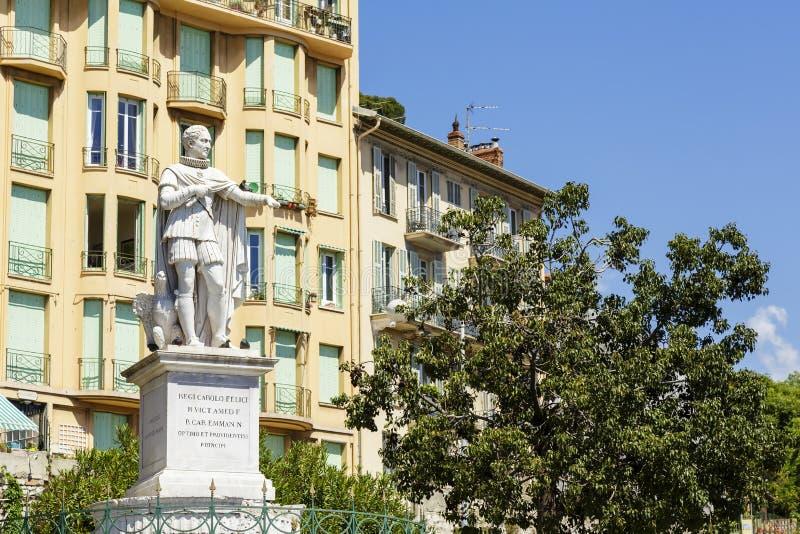 La statue du Roi Charles Felix à Nice images libres de droits