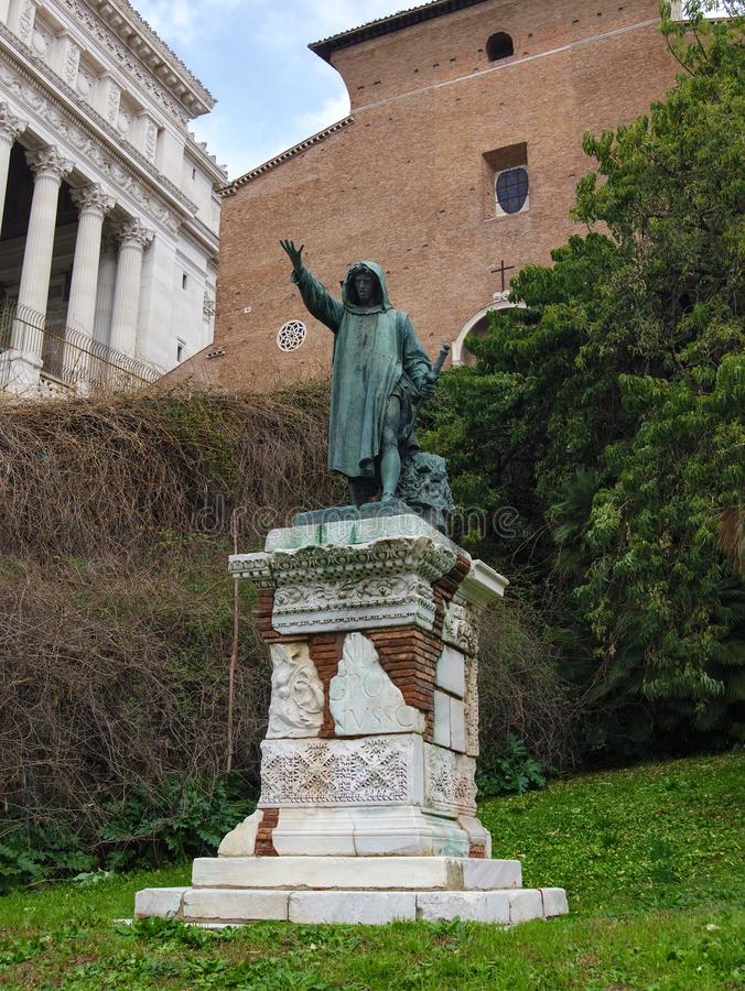 La statue en bronze de Cola Di Rienzo à Rome, Italie Fait en 1877 par Girolamo Masini photographie stock libre de droits