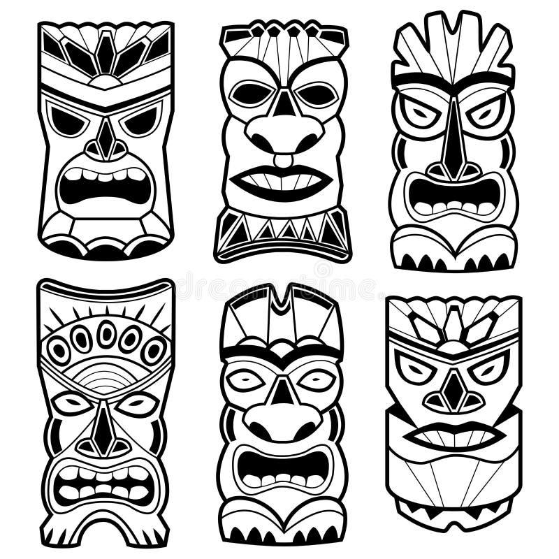 La statue hawaïenne de tiki masque l'ensemble noir et blanc illustration de vecteur
