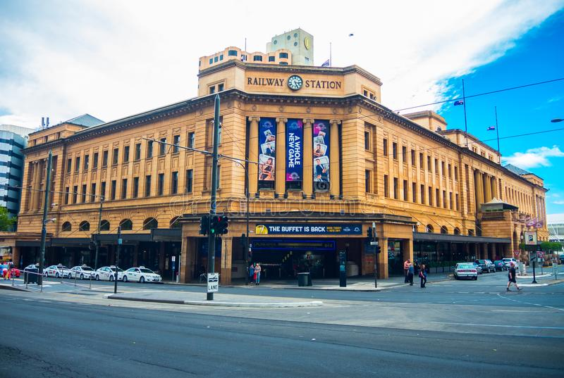 La stazione ferroviaria di Adelaide è l'estremità centrale del sistema ferroviario di Adelaide Metro immagine stock