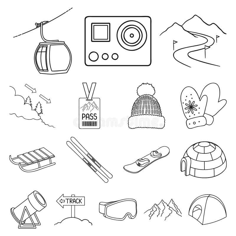La stazione sciistica e l'attrezzatura descrivono le icone nella raccolta dell'insieme per progettazione Azione di simbolo di vet illustrazione vettoriale