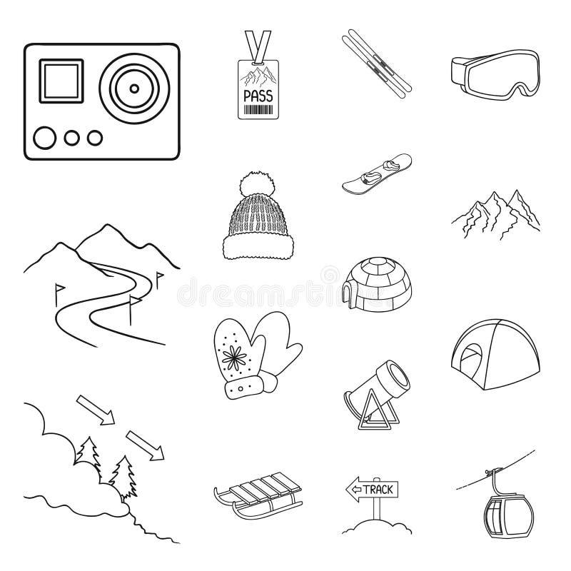 La stazione sciistica e l'attrezzatura descrivono le icone nella raccolta dell'insieme per progettazione Azione di simbolo di vet royalty illustrazione gratis