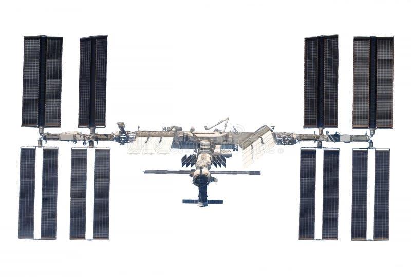 La Stazione Spaziale Internazionale, l'ISS si è sviluppata, isolato su un fondo bianco Gli elementi di questa immagine sono stati fotografia stock libera da diritti