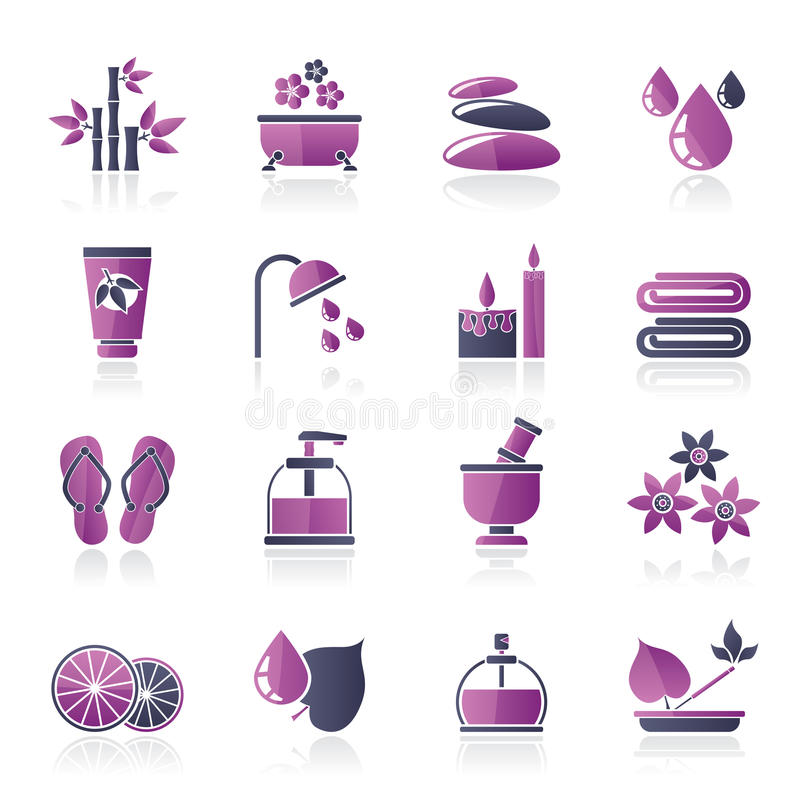 La stazione termale e si rilassa le icone degli oggetti illustrazione vettoriale
