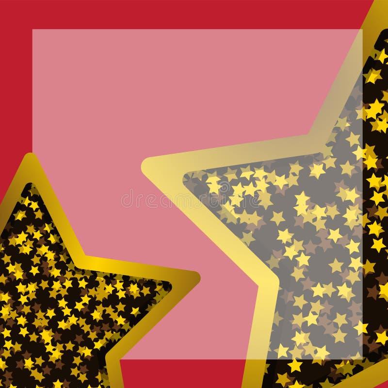 La stella del fondo su un fondo rosso Elemento di progettazione dell'insegna del fondo della carta della decorazione Immagine di  illustrazione vettoriale