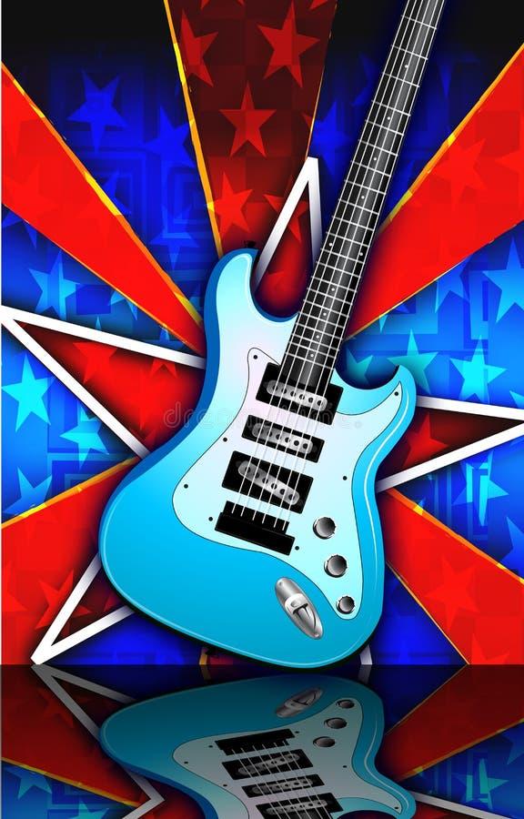 La stella ha scoppiato l'illustrazione della chitarra della roccia blu illustrazione di stock