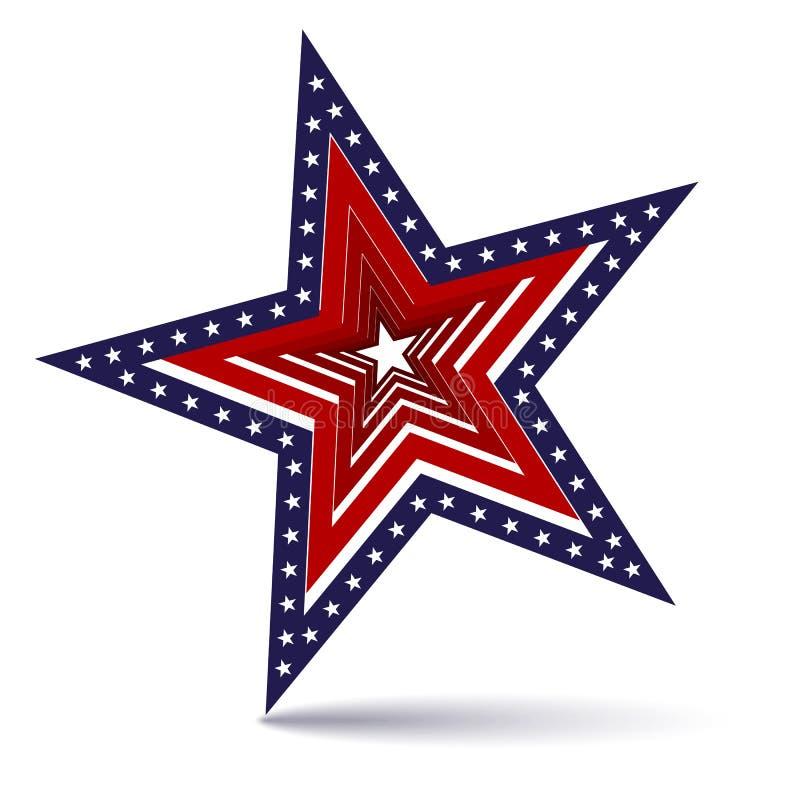 La stella nel telaio delle stelle e dell'icona patriottica americana di simbolo delle bande della bandiera rossa e bianca di U.S. royalty illustrazione gratis