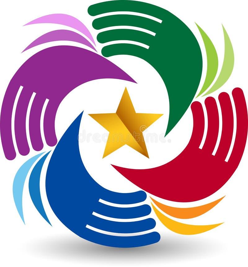 La stella passa il logo del cerchio illustrazione di stock