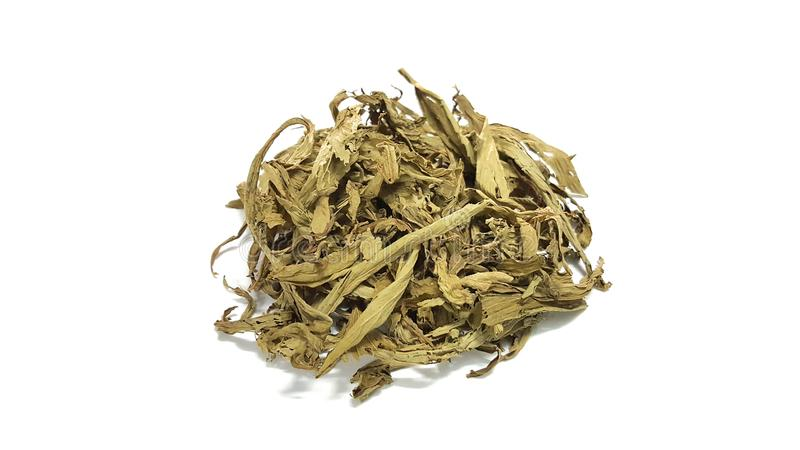 La stevia asciutta è un dolcificante usato per sostituire lo zucchero immagine stock