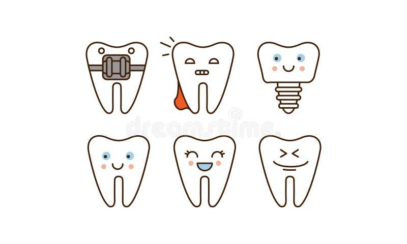 La stomatologie et la ligne dentaire ensemble d'icônes, les dents mignonnes avec différentes expressions du visage dirigent l'ill illustration stock