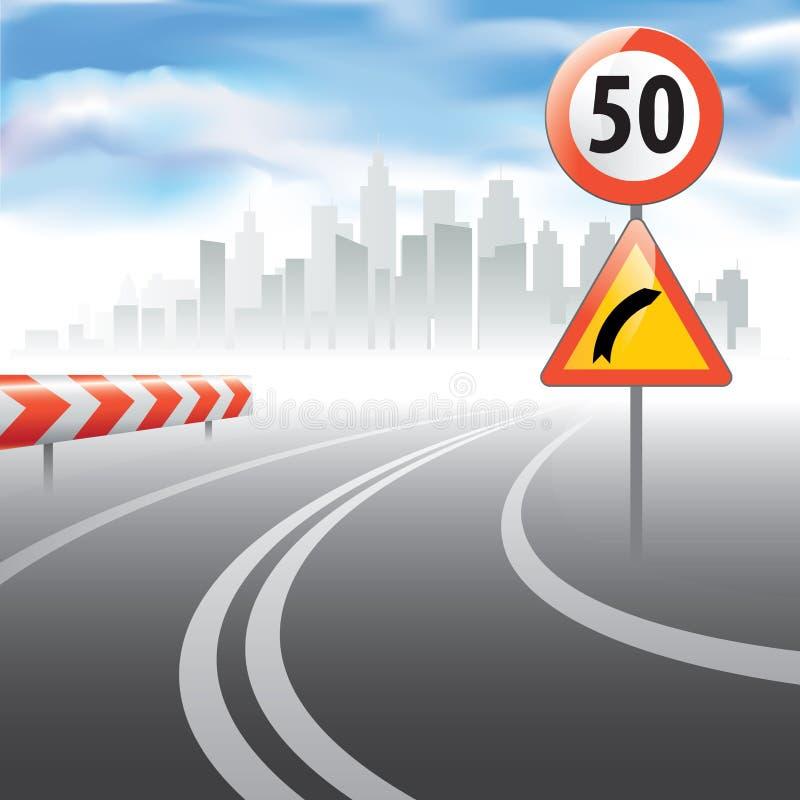 La strada con il segno limite di velocità di velocità illustrazione vettoriale