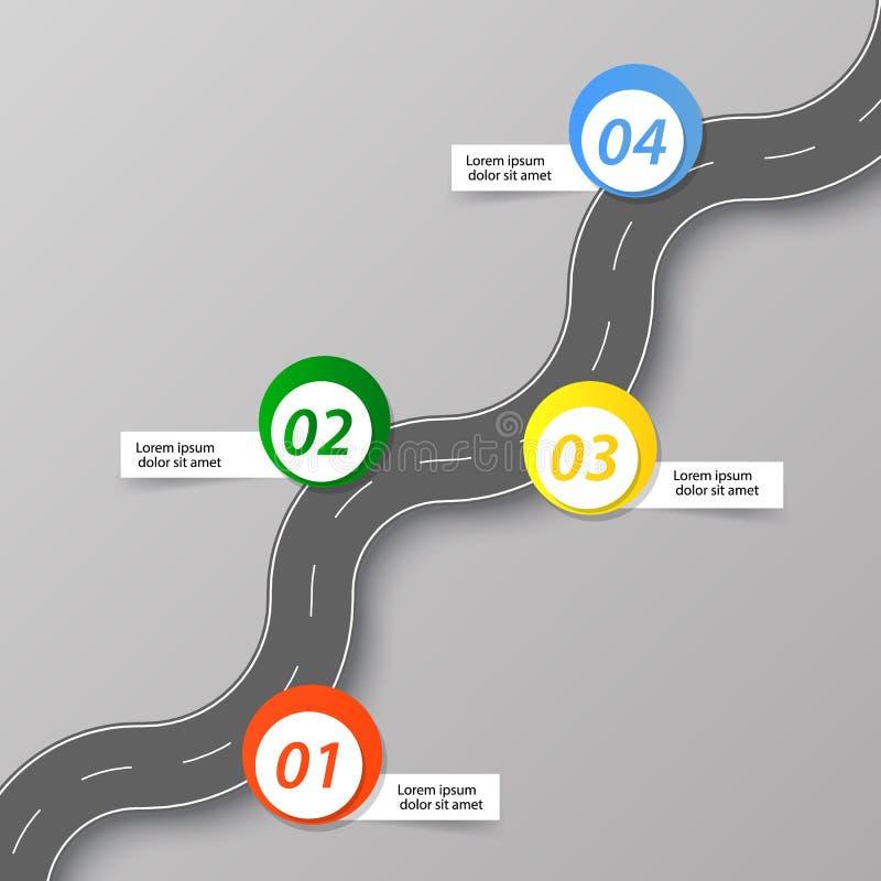 La strada di avvolgimento con le insegne illustrazione vettoriale