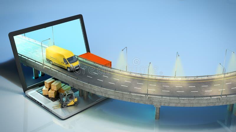 La strada di concetto del trasporto dal computer portatile sul camion andante della strada l? ? scatole e un caricatore sul compu royalty illustrazione gratis