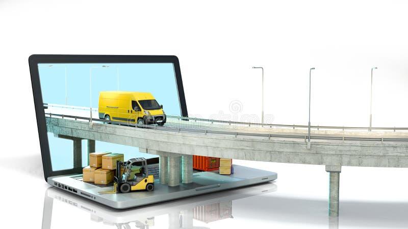 La strada di concetto del trasporto dal computer portatile sul camion andante della strada l? ? scatole e un caricatore sul compu illustrazione vettoriale