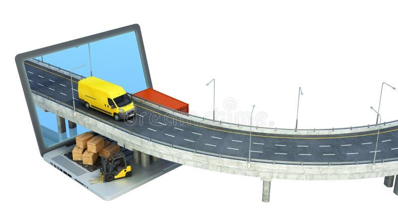 La strada di concetto del trasporto dal computer portatile sul camion andante della strada l? ? scatole e un caricatore sul compu illustrazione di stock