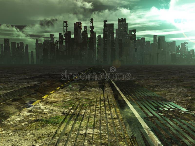 La strada stagionata conduce alla città abbandonata illustrazione di stock