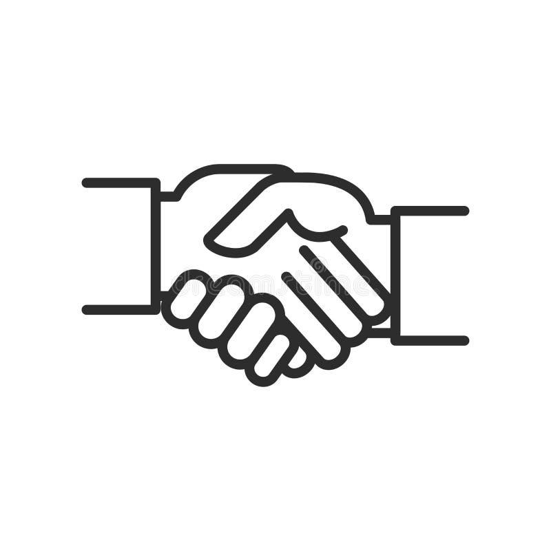 La stratégie commerciale a rapporté la ligne icône, icône de vecteur de vecteur de secousse de main photographie stock
