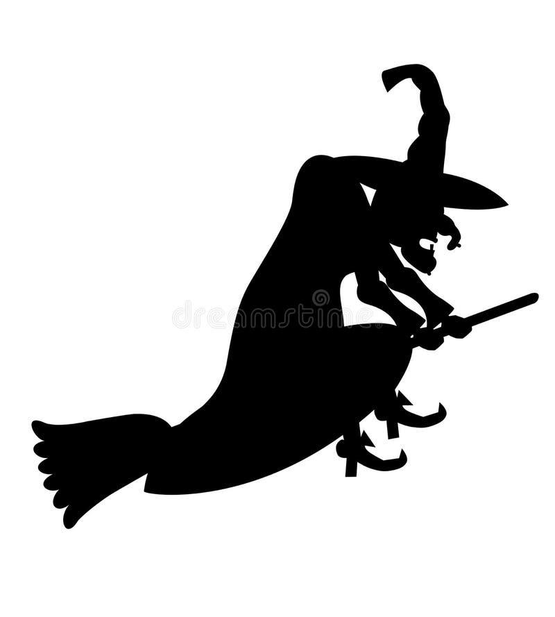 La strega anziana cattiva vola sulla scopa Una siluetta nera semplice rigorosa è isolata su un fondo bianco illustrazione vettoriale