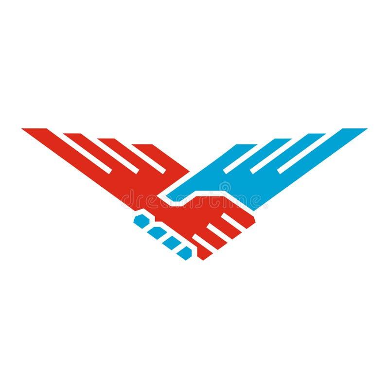 La stretta di mano traversa l'uccello volando illustrazione di stock