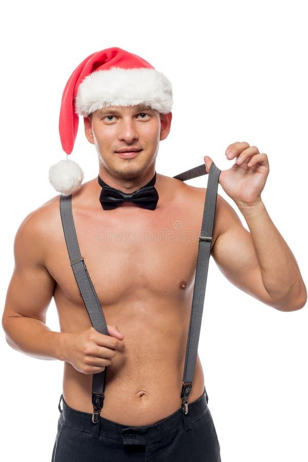 La strip-teaseuse de Santa enlève le portrait de bretelles photographie stock libre de droits