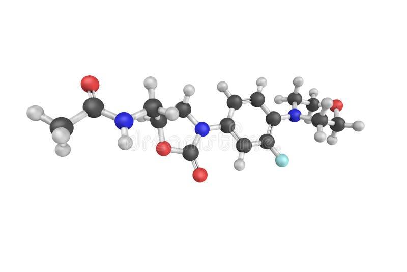 la structure 3d de Linezolid est un antibiotique utilisé pour les treatmen illustration stock