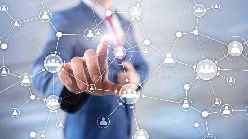 La structure d'organisation d'entreprise de concept de gestion de ressources humaines d'heure a mélangé l'écran virtuel de double image libre de droits