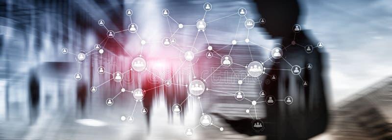 La structure d'organisation d'entreprise de concept de gestion de ressources humaines d'heure a m?lang? l'?cran virtuel de double photographie stock