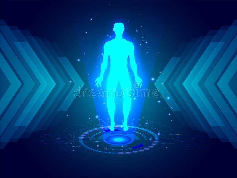 La structure de corps humain entre l'émergence numérique rayonne sur le sci-f bleu illustration de vecteur