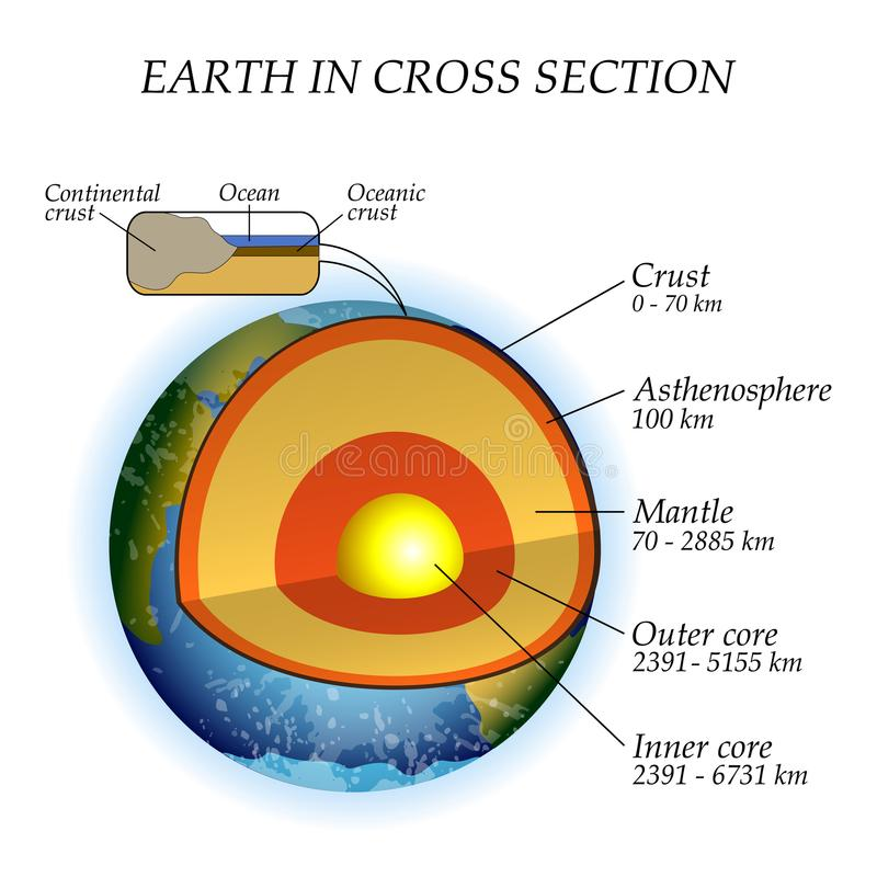 La structure de la terre dans une section transversale, les couches du noyau, manteau, asthénosphère Calibre pour l'éducation, ve illustration de vecteur