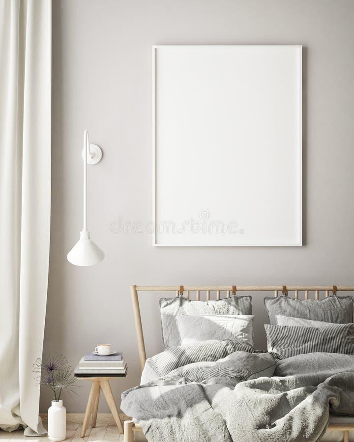 La struttura alta falsa del manifesto nel fondo interno della camera da letto moderna, il salone, lo stile scandinavo, 3D rende,  illustrazione di stock
