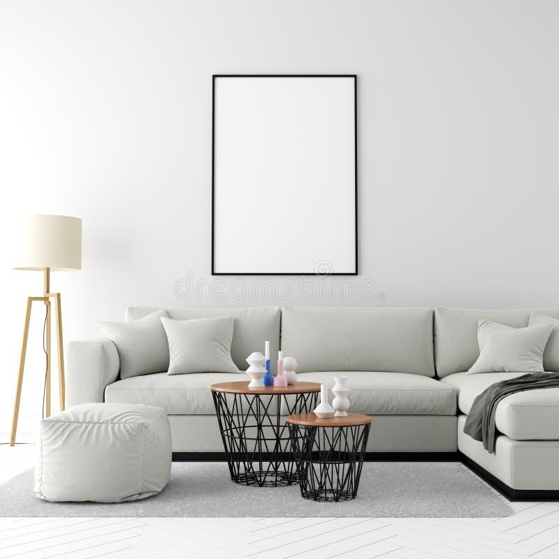 La struttura alta falsa del manifesto nel fondo interno moderno, 3D rende, illustrazione 3D illustrazione di stock