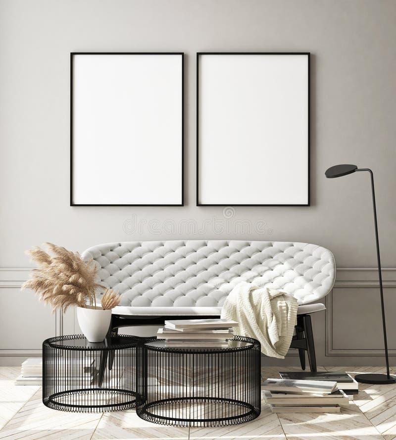La struttura alta falsa del manifesto nel fondo interno moderno, il salone, lo stile scandinavo, 3D rende, illustrazione 3D illustrazione di stock