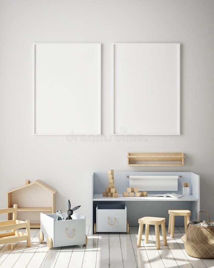 La struttura alta falsa del manifesto nel fondo interno, la stanza dei bambini, lo stile scandinavo, 3D rende, illustrazione 3D illustrazione vettoriale