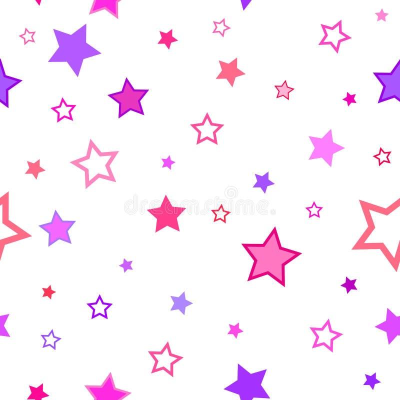 La struttura astratta del modello del fondo stars senza cuciture viola rosa illustrazione di stock