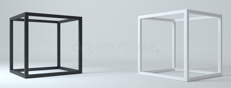La struttura astratta modella i cubi neri bianchi royalty illustrazione gratis
