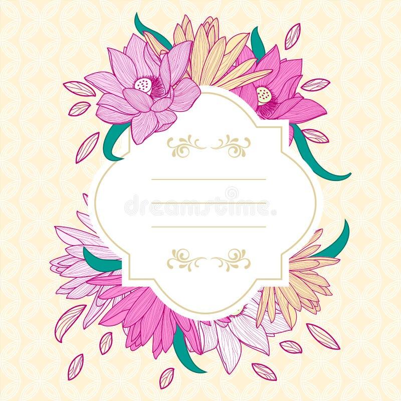 La struttura bianca rotonda con loto ed il giglio rosa fiorisce illustrazione vettoriale