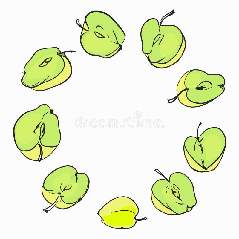 La struttura colorata rotonda composta di appels differenti fruttifica illustrazione vettoriale
