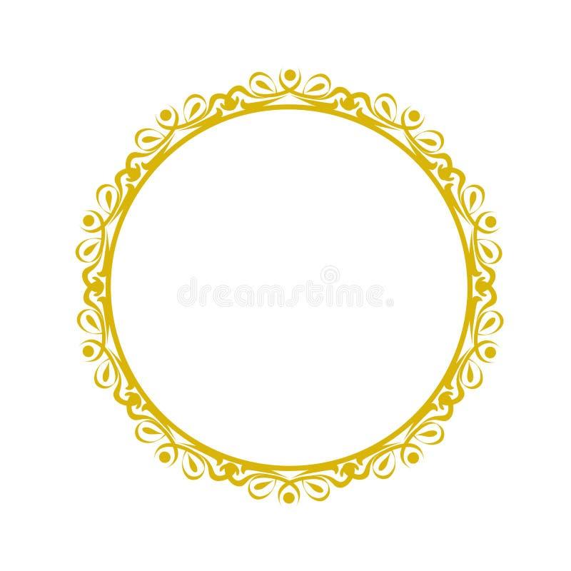 La struttura decorativa, elemento dorato elegante di vettore rotondo rasenta illustrazione di stock