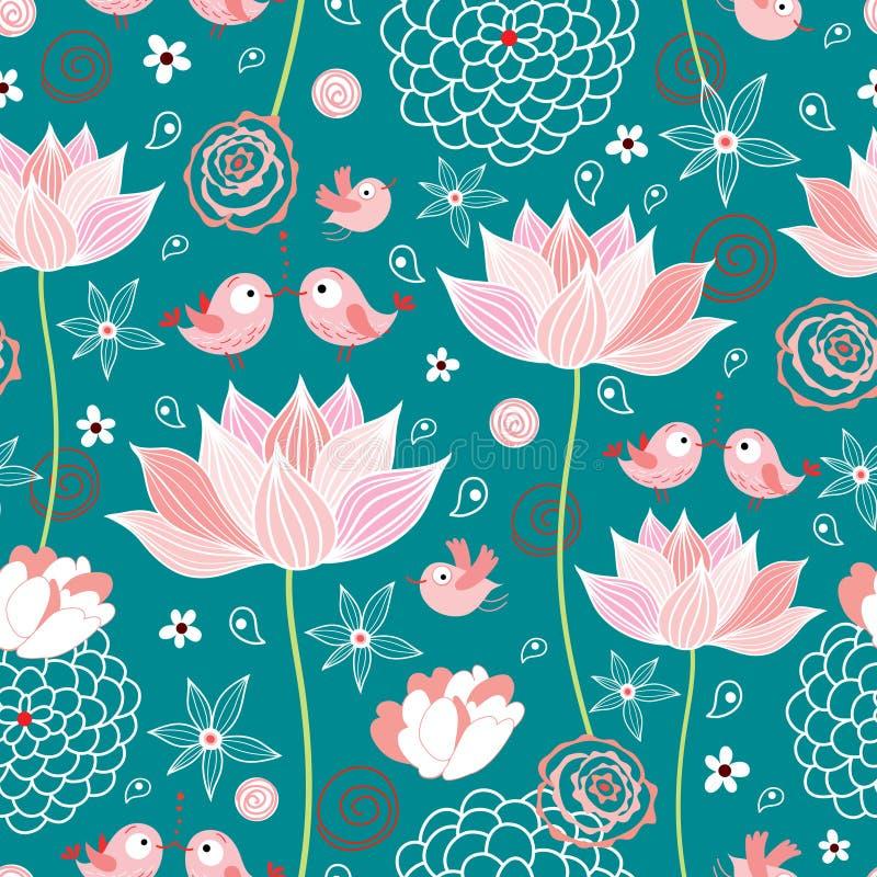 La struttura dei fiori e degli uccelli di loto illustrazione di stock