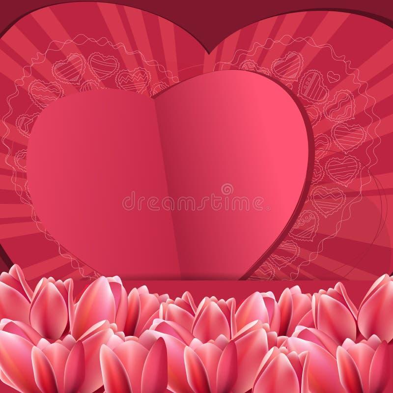 La struttura del biglietto di S. Valentino rosa del san con i cuori royalty illustrazione gratis