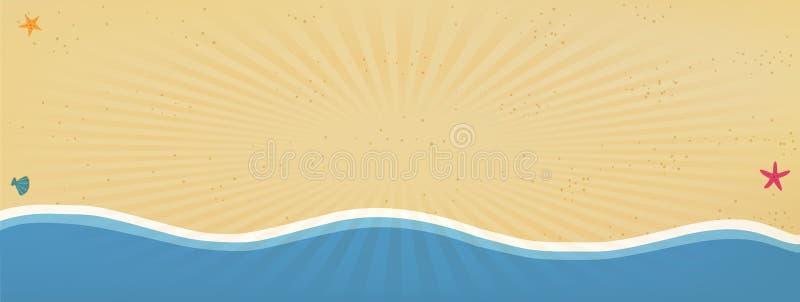 La struttura del fondo o del confine della spiaggia con il sole radiante rays royalty illustrazione gratis