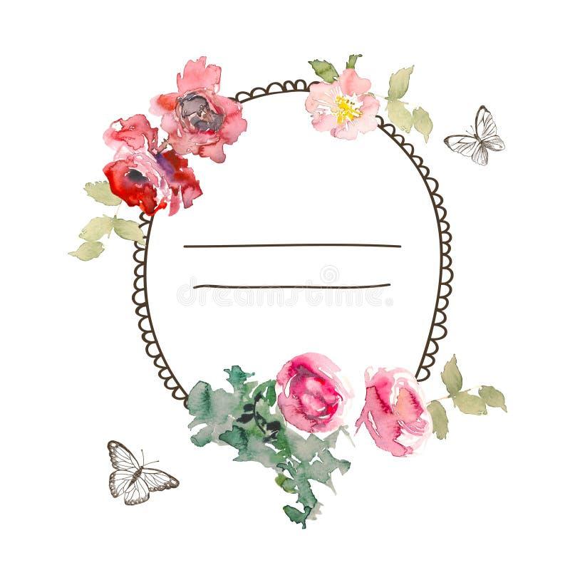 La struttura dell'acquerello con le rose, può essere usata come carta dell'invito per nozze, compleanno e l'altre festa ed estate royalty illustrazione gratis