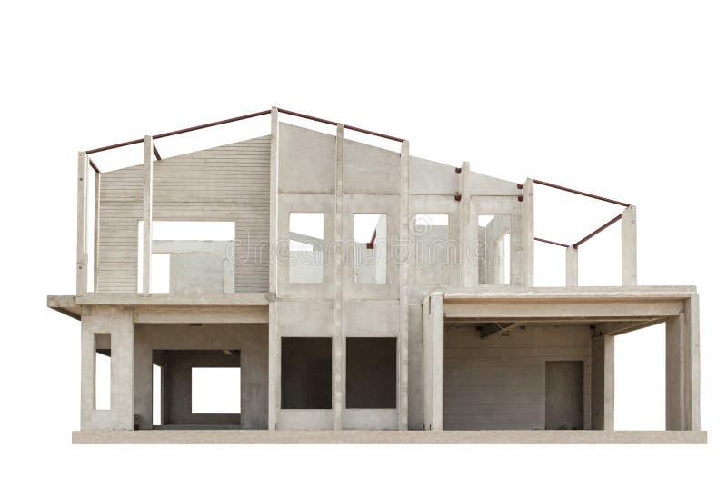 La struttura della casa nella costruzione ha isolato il fondo bianco fotografie stock