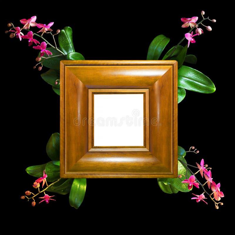 La struttura della foto fatta di legno fatto a mano con l'orchidea si ramifica negli angoli immagine stock libera da diritti