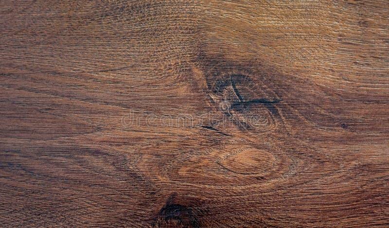 La struttura della quercia con i nodi Texture_ di legno scuro immagini stock libere da diritti