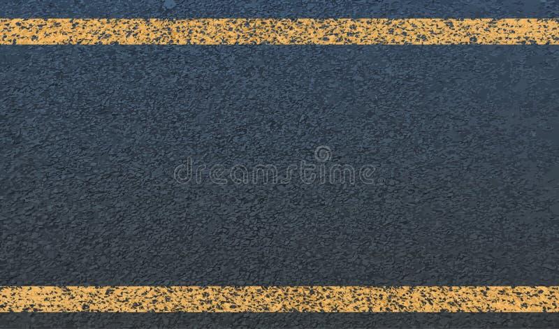 La struttura di asfalto e della linea gialla Vettore royalty illustrazione gratis