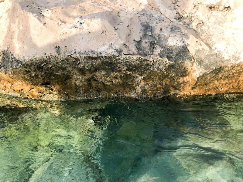 La struttura di bella spiaggia sabbiosa di pietra, di una terra, di una spiaggia e di un'acqua blu verdastra, il mare su un centr fotografia stock
