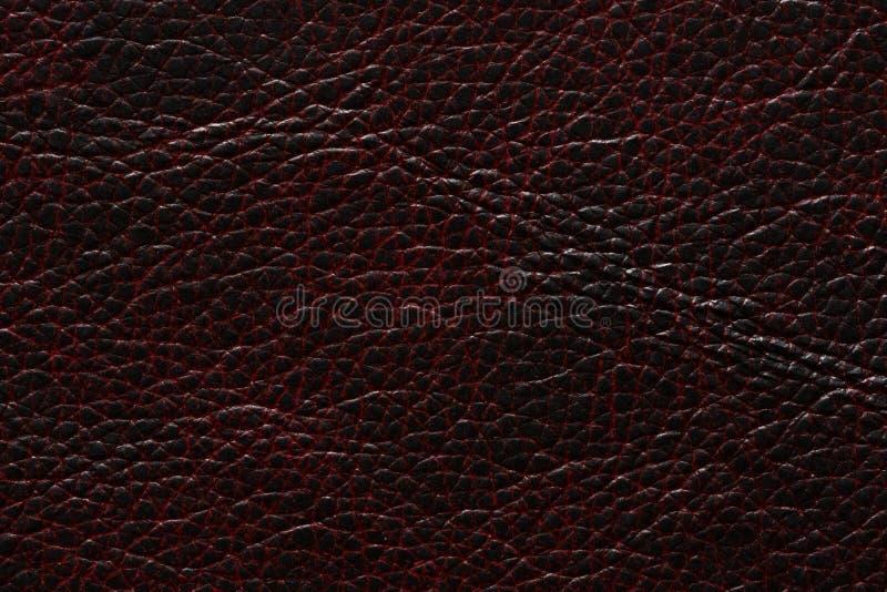 La struttura di cuoio straordinaria nel rosso del nero scuro tonifica fotografia stock libera da diritti