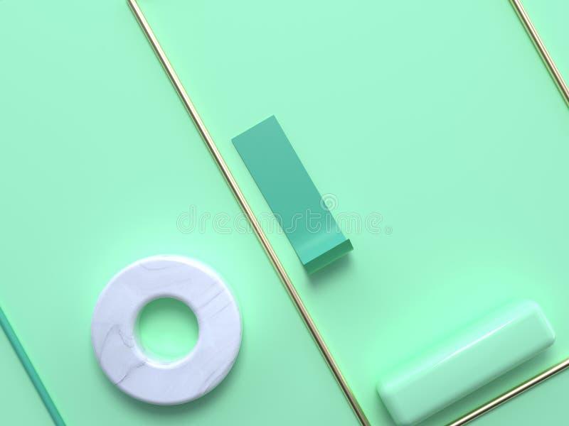 La struttura di marmo bianca del quadrato dell'oro del cerchio pone pianamente il CIR di marmo bianco della rappresentazione 3d d royalty illustrazione gratis