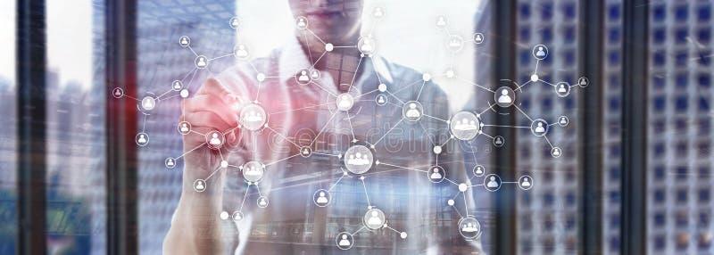 La struttura di organizzazione corporativa di concetto della gestione di risorse umane di ora ha mescolato lo schermo virtuale de immagine stock